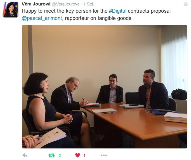 Europa fit für das Internetzeitalter machen! Arbeitstreffen mit der EU-Kommissarin für Justiz und Verbraucherschutz, Vera Jourova, zum grenzüberschreitenden Online-Handel.
